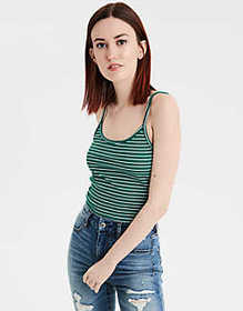 American Eagle AE Striped Cropped Tank Top