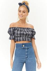 Forever21 Plaid Off-the-Shoulder Crop Top