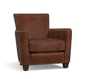 Pottery Barn Irving Leather Square Arm Power Recli