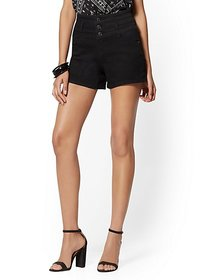 4 Inch Three-Button High-Waisted Short - Black - N