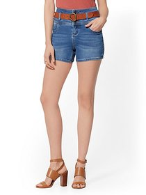 4 Inch Three-Button High-Waisted Short - Blue Hone