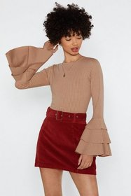 Nasty Gal Womens Stone Triple Frill Sleeve Crop To