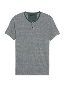 Stretch-Linen Henley T-Shirt