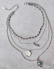 American Eagle AEO Layered Silver Necklace