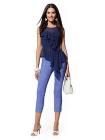 High-Waisted Pull-On Crop Pant - Bright Blue - New