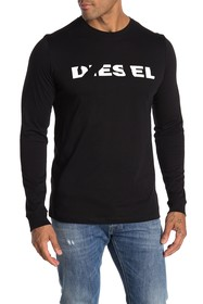 Diesel Long Sleeve Logo Print Knit T-Shirt