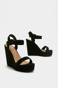 Nasty Gal Womens Black High What's Up Faux Suede W