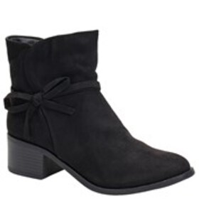 Girls Side Bow Block Heel Boots