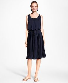 Brooks Brothers Pleated Jersey Blouson Dress