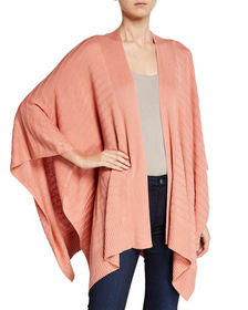 Joan Vass Novelty Ribbed Poncho Sweater