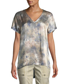 XCVI Milani Tie-Dye Satin V-Neck Top