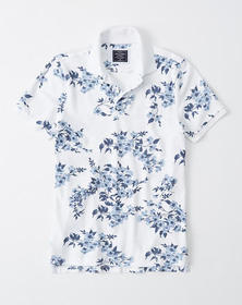 Stretch Icon Polo, WHITE FLORAL