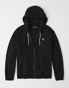Full-Zip Icon Hoodie, BLACK