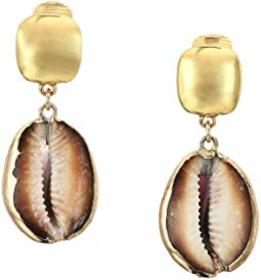 Kenneth Jay Lane Polished Gold Top with Shell Drop