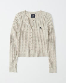 Cropped Icon Crew Cardigan, OATMEAL