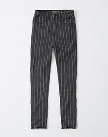 Pinstripe High Rise Ankle Jeans, WASHED BLACK STRI