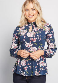 Readily Respected Peplum Top Blue Floral