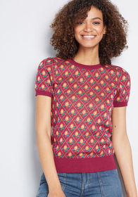 ModCloth ModCloth Throwback Blooms Short Sleeve Sw