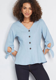 Relish the Thought Linen Top Dusty Blue