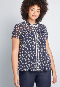 Defined as Delightful Sheer Blouse FLORAL