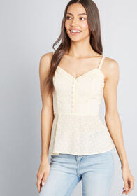 ModCloth Airy Engagement Peplum Top in Dotted Yell
