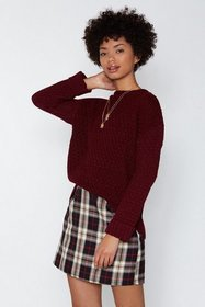Nasty Gal Womens Burgundy You Started Knit Cable S