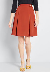 Great Expectations Buttoned A-Line Skirt in Brick