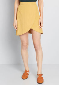 Tempted by Tulips Mini Skirt Mustard