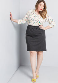 Solid Choice Knit Pencil Skirt Charcoal