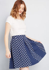 Pleats on Repeat A-Line Skirt NAVY POLKA DOT