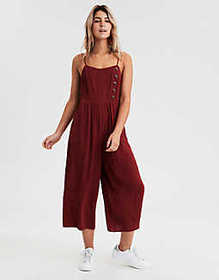 American Eagle AE Striped Button Front Jumpsuit