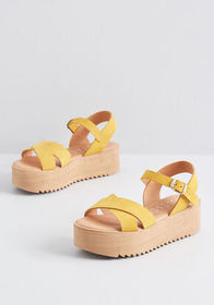 Cheerful Up Here Suede Platform Sandal Yellow