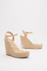 Nasty Gal Womens Nude Up and Running Clear Raffia