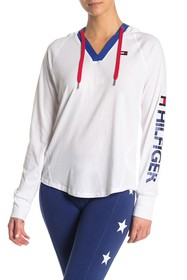 Tommy Hilfiger V-Neck Hooded Long Sleeve Top