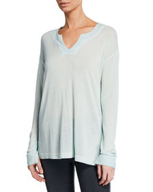 Neiman Marcus Vintage Wash V-Neck Long-Sleeve Top