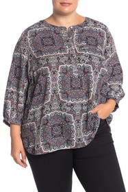 NYDJ Henley 3/4 Sleeve Blouse (Plus Size)