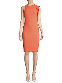 Black Halo Pabla Ruffle Sheath Dress CORAL GLOW