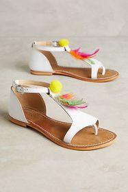 Anthropologie Coral Blue Feather Sandals