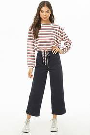 Forever21 Striped Drawstring-Hem Top