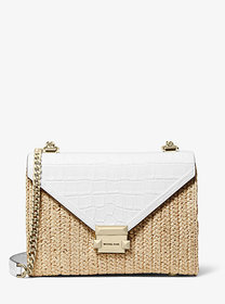 Michael Kors Whitney Large Raffia and Leather Conv