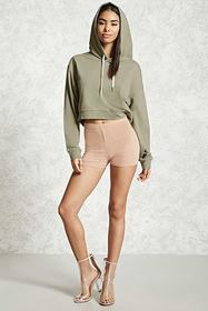 Forever21 Cropped French Terry Hoodie