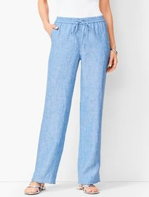 Talbots Washed Linen Wide-Leg Pants - Cross-Dyed