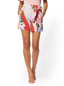 6 Inch Madie Short - Floral & Dot-Print - 7th Aven
