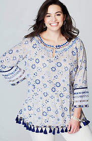 Ocean Breeze Embroidered & Tasseled Top