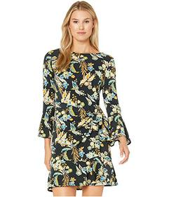 eci Elbow Length Bell Sleeve Paisley Print Side Wr