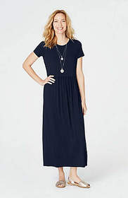 Knit Shirred-Waist Maxi Dress