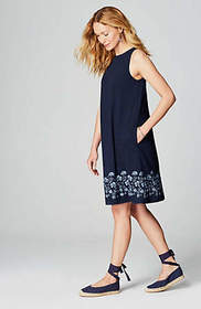 Embroidered-Border Knit Dress