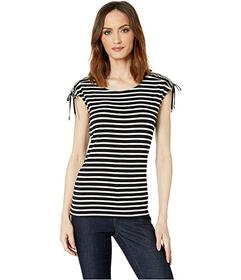 Calvin Klein Striped Tie Shoulder Top