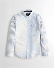 Hollister Stretch Oxford Muscle Fit Shirt, WHITE S