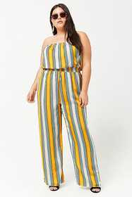 Forever21 Plus Size Striped Strapless Satin Jumpsu